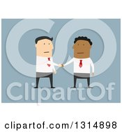 Clipart Of A Flat Design Of White And Black Business Men Shaking Hands On A Deal Over Blue Royalty Free Vector Illustration
