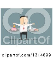 Clipart Of A Flat Design White Businessman Scale Comparing The Cost Of Smoking Over Blue Royalty Free Vector Illustration
