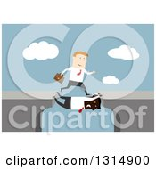 Clipart Of A Flat Design White Businessman Taking Advantage Of A Black Man Filling In A Gap Between Cliffs On Blue Royalty Free Vector Illustration