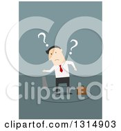 Clipart Of A Flat Design Of A White Businessman Being Cut Out Of The Floor On Blue Royalty Free Vector Illustration