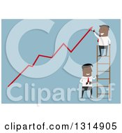 Clipart Of A Flat Design Black Businessman On A Ladder Cheering Over A Growth Arrow While Someone Cuts The Ladder On Blue Royalty Free Vector Illustration by Vector Tradition SM