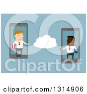 Clipart Of A Flat Design Of White And Black Businessmen Commuting Via Cloud Service On Smart Cell Phones Royalty Free Vector Illustration