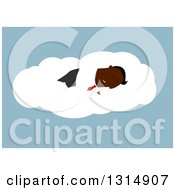 Clipart Of A Flat Design Black Businessman Sleeping On A Cloud Royalty Free Vector Illustration