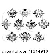 Clipart Of Black And White Vintage Floral Design Elements 13 Royalty Free Vector Illustration by Vector Tradition SM