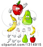 Clipart Of Cartoon Faces Hands Apples Pears And Bananas Royalty Free Vector Illustration