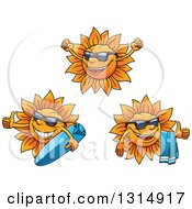 Clipart Of Cartoon Happy Summer Sun Characters Wearing Shades Cheering Holding A Towel And Surf Board Royalty Free Vector Illustration by Vector Tradition SM