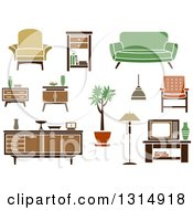 Clipart Of Retro Household Tables Chairs Couches And Furniture Royalty Free Vector Illustration