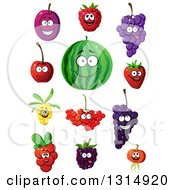 Clipart Of Cartoon Happy Plum Raspberry Grapes Strawberry Watermelon Cherry Currants And Blackberry Characters Royalty Free Vector Illustration by Vector Tradition SM