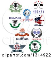 Tennis Soccer Hockey Bowling Billiards Basketball Ping Pong Darts And Baseball Sports Designs With Text