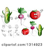 Cartoon Faces Hands Corn Beets And Tomatoes