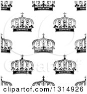 Clipart Of A Seamless Background Pattern Of Black And White Ornate Crowns 6 Royalty Free Vector Illustration