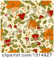 Clipart Of A Seamless Orange Red And Green Doodled Flower Pattern Background On Pastel Yellow Royalty Free Vector Illustration