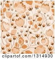 Clipart Of A Seamless Tan And Brown Flower Pattern Background Royalty Free Vector Illustration