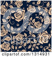 Clipart Of A Seamless Pattern Of Tan Roses On Navy Blue Royalty Free Vector Illustration
