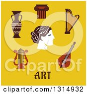 Clipart Of A Flat Design Of Classical And Musical Lyre Amphora Capital On A Column Harp And Head With Text Over Yellow Royalty Free Vector Illustration by Vector Tradition SM