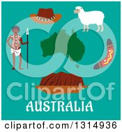 Clipart Of A Flat Design Of Australian Travel Icons Of A Map Ayers Rock Boomerang Sheep Hat And Aboriginal Man Over Text On Turquoise Royalty Free Vector Illustration by Vector Tradition SM