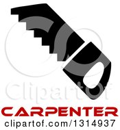 Clipart Of A Black Saw And Red Carpenter Text Royalty Free Vector Illustration by Vector Tradition SM