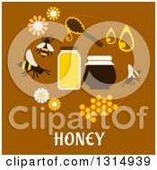 Clipart Of A Flat Design Circle Of Honey Icons With Text On Brown Royalty Free Vector Illustration by Vector Tradition SM