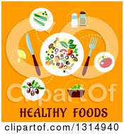 Clipart Of A Flat Design Of A Salad Plate And Ingredients Over Text On Orange Royalty Free Vector Illustration