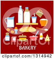 Clipart Of A Flat Design Of Baking Goods Over Red And Text Royalty Free Vector Illustration