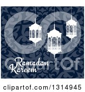 Clipart Of A Ramadan Kareem Greeting With White Lanterns Over A Blue Pattern 3 Royalty Free Vector Illustration by Vector Tradition SM