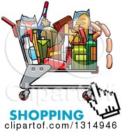 Clipart Of A Hand Cursor Over A Cart Full Of Groceries With Text Royalty Free Vector Illustration by Vector Tradition SM