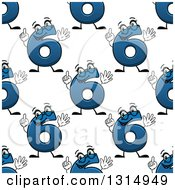 Clipart Of A Seamless Background Pattern Of Cartoon Blue Number Six Characters Royalty Free Vector Illustration by Vector Tradition SM