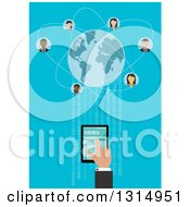 Clipart Of A Flat Design Of A Hand Using A Tablet Computer To Connect With People Around The Globe With Binary Code On Blue Royalty Free Vector Illustration