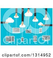 Clipart Of A Flat Design Of Hands Holding Clouds With Hanging Electronic Devices For Storage Over Binary Code On Blue Royalty Free Vector Illustration