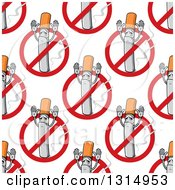 Clipart Of A Seamless Pattern Background Of Cigarettes Holding Up Their Arms And No Smoking Symbols Royalty Free Vector Illustration by Vector Tradition SM