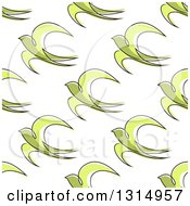 Seamless Background Pattern Of Sketched Green Swallow Birds