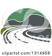 Clipart Of A Curving Highway Road And Mountains With Green Sky Royalty Free Vector Illustration
