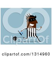 Clipart Of A Black Shackled Robber Running With A Credit Card On Blue Royalty Free Vector Illustration by Vector Tradition SM