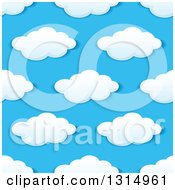 Clipart Of A Seamless Pattern Background Of Puffy Clouds In A Blue Sky 7 Royalty Free Vector Illustration by Vector Tradition SM