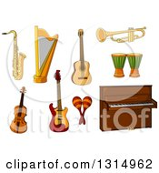 Clipart Of A Cartoon Saxophone Harp Guitars Trumpet Violin Maracas Piano And Djembe Goblet Drums Royalty Free Vector Illustration by Vector Tradition SM