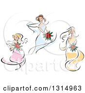 Clipart Of Sketched Brides In Yellow Pink And Blue Dresses 3 Royalty Free Vector Illustration