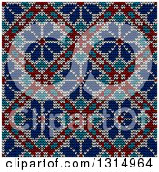 Clipart Of A Blue White And Red Seamless Norwegian Embroidered Winter Pattern Of Snowflakes In Diamonds Royalty Free Vector Illustration