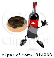 Clipart Of A 3d Wine Bottle Mascot Jumping And Holding A Chocolate Donut Royalty Free Illustration