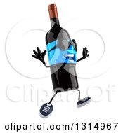 Clipart Of A 3d Happy Blue Label Wine Bottle Character Wearing Sunglasses Facing Right And Jumping Royalty Free Illustration