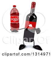 Clipart Of A 3d Wine Bottle Mascot Holding And Pointing To A Soda Royalty Free Illustration