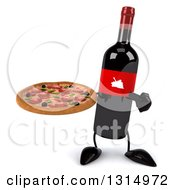 Clipart Of A 3d Wine Bottle Mascot Holding And Pointing To A Pizza Royalty Free Illustration