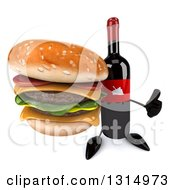 Clipart Of A 3d Wine Bottle Mascot Holding Up A Thumb And A Double Cheeseburger Royalty Free Illustration
