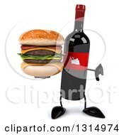 Clipart Of A 3d Wine Bottle Mascot Giving A Thumb Down And A Double Cheeseburger Royalty Free Illustration