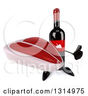 Clipart Of A 3d Wine Bottle Mascot Holding Up A Thumb And A Beef Steak Royalty Free Illustration
