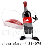 Clipart Of A 3d Wine Bottle Mascot Holding Up A Finger And A Beef Steak Royalty Free Illustration