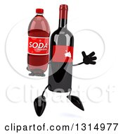 Clipart Of A 3d Wine Bottle Mascot Facing Slightly Right Jumping And Holding A Soda Royalty Free Illustration