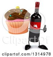 Clipart Of A 3d Wine Bottle Mascot Holding A Thumb Up And A Chocolate Frosted Cupcake Royalty Free Illustration