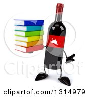 Clipart Of A 3d Wine Bottle Mascot Shrugging And Holding A Stack Of Books Royalty Free Illustration