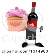 Clipart Of A 3d Wine Bottle Mascot Holding A Thumb Down And A Pink Frosted Cupcake Royalty Free Illustration