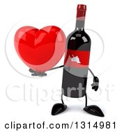 Clipart Of A 3d Wine Bottle Mascot Holding A Heart Royalty Free Illustration